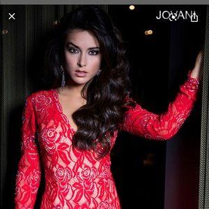 Jovani Floral Red Dress
